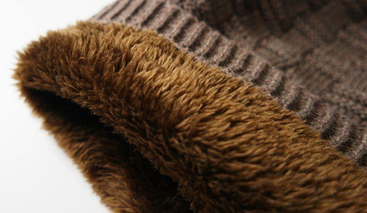 Grin&Bear Fleece Beanie Mütze in Grobstrick mit Innenfutter