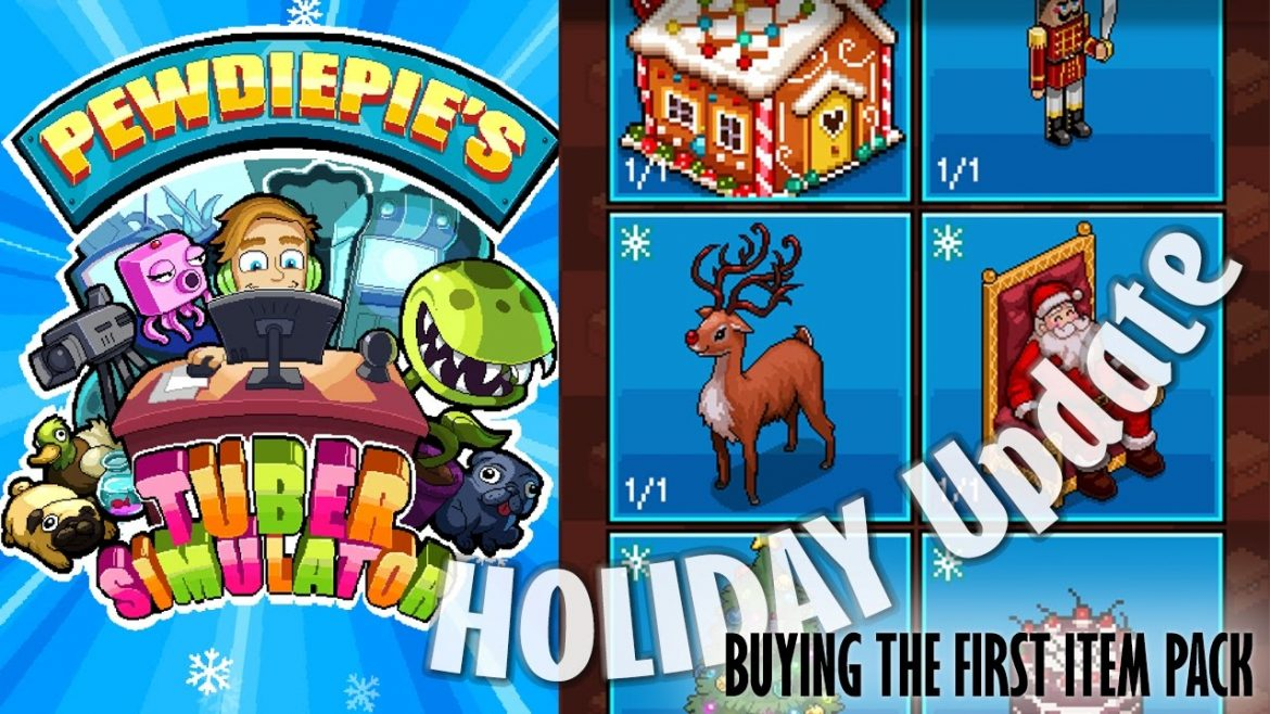 PewDiePie Tuber Simulator CHRISTMAS HOLIDAY UPDATE + ITEMS PACK